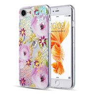 Decoration Series Holographic Printing Transparent Fusion Case for iPhone 8 / 7 / 6S / 6 - Peony