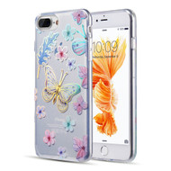 Decoration Series Holographic Printing Transparent Fusion Case for iPhone 8 Plus / 7 Plus / 6S Plus / 6 Plus - Sakura Butterfly