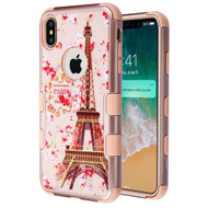 Military Grade Certified TUFF Hybrid Armor Case for iPhone XS Max - Paris in Full Bloom Rose Gold