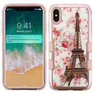 Military Grade Certified TUFF Hybrid Armor Case for iPhone XS Max - Paris in Full Bloom Rose Gold 106