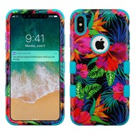 Military Grade Certified TUFF Hybrid Armor Case for iPhone XS Max - Electric Hibiscus 021