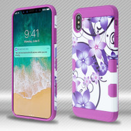 Military Grade Certified TUFF Trooper Dual Layer Hybrid Armor Case for iPhone XS Max - Purple Hibiscus Flower Romance