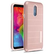 Haptic Dots Texture Anti-Slip Hybrid Armor Case for LG Q7 Plus - Rose Gold