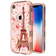 Military Grade Certified TUFF Hybrid Armor Case for iPhone XR -Paris in Full Bloom Rose Gold