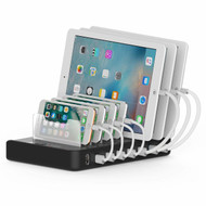 7 Port Universal Desktop Charger Dock USB Charging Station 50W 10A - Black