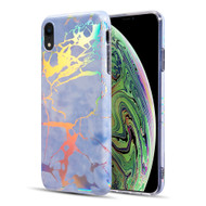 Holographic Effect Marble TPU Case for iPhone XR - Midnight Blue