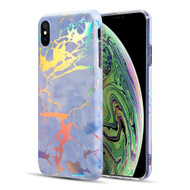 Holographic Effect Marble TPU Case for iPhone XS Max - Midnight Blue