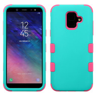 Military Grade Certified TUFF Hybrid Armor Case for Samsung Galaxy A6 (2018) - Teal Green Electric Pink