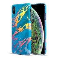 Holographic Effect Marble TPU Case for iPhone XS Max - Teal