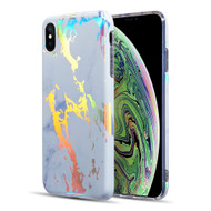 Holographic Effect Marble TPU Case for iPhone XS Max - White