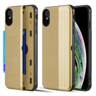 Kard Series Dual Hybrid Case with Card Slot and Magnetic Kickstand for iPhone XS Max - Gold