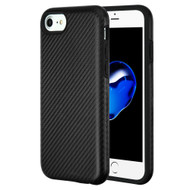 Carbon Fiber Hybrid Case for iPhone 8 / 7 / 6S / 6 - Black