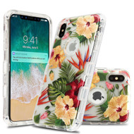 Military Grade Certified TUFF Lucid Transparent Hybrid Armor Case for iPhone XS Max - Hibiscus