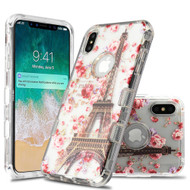 Military Grade Certified TUFF Lucid Transparent Hybrid Armor Case for iPhone XS Max - Paris in Full Bloom