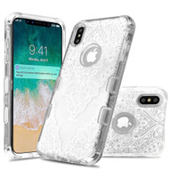 Military Grade Certified TUFF Lucid Transparent Hybrid Armor Case for iPhone XS Max - Diamond Shaped Mandala