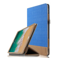 *Sale* Luxury Leather Canvas Smart Folio Case with with Auto Sleep/Wake Trifold Cover for iPad Pro 10.5 inch - Blue