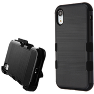 Military Grade Certified Brushed TUFF Hybrid Case Holster for iPhone XR - Black