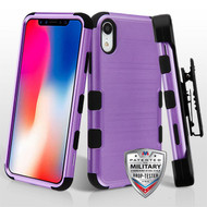 Military Grade Certified Brushed TUFF Hybrid Case with Holster for iPhone XR - Purple
