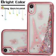 Electroplating Quicksand Glitter Transparent Case for iPhone XR - Eiffel Tower Rose Gold