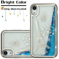 Electroplating Quicksand Glitter Transparent Case for iPhone XR - Eiffel Tower Silver
