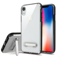 Bumper Shield Clear Transparent TPU Case with Magnetic Kickstand for iPhone XR - Black