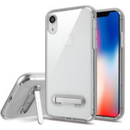 Bumper Shield Clear Transparent TPU Case with Magnetic Kickstand for iPhone XR - Silver
