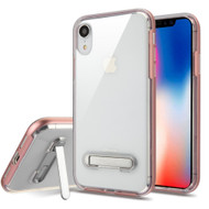 Bumper Shield Clear Transparent TPU Case with Magnetic Kickstand for iPhone XR - Rose Gold