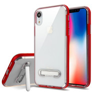 Bumper Shield Clear Transparent TPU Case with Magnetic Kickstand for iPhone XR - Red