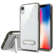Bumper Shield Clear Transparent TPU Case with Magnetic Kickstand for iPhone XR - Grey