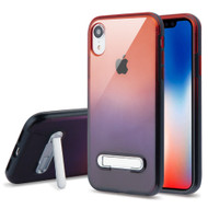 Bumper Shield Clear Transparent TPU Case with Magnetic Kickstand for iPhone XR - Black Red