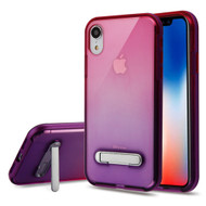 Bumper Shield Clear Transparent TPU Case with Magnetic Kickstand for iPhone XR - Purple Hot Pink