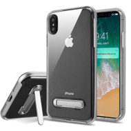 Bumper Shield Clear Transparent TPU Case with Magnetic Kickstand for iPhone XS Max - Silver