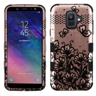 Military Grade Certified TUFF Hybrid Armor Case for Samsung Galaxy A6 (2018) - Lace Flower Rose Gold
