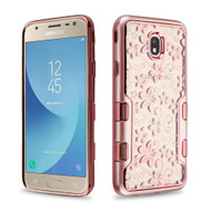 TUFF Panoview Transparent Hybrid Case for Samsung Galaxy J7 (2018) - Hibiscus Flower Rose Gold