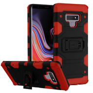 Military Grade Certified Storm Tank Hybrid Armor Case with Stand for Samsung Galaxy Note 9 - Black Red