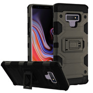 Military Grade Certified Storm Tank Hybrid Armor Case with Stand for Samsung Galaxy Note 9 - Grey