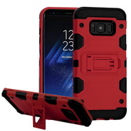 Military Grade Certified Storm Tank Hybrid Armor Case with Stand for Samsung Galaxy S8 Plus - Red