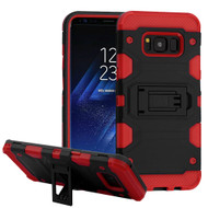 Military Grade Certified Storm Tank Hybrid Armor Case with Stand for Samsung Galaxy S8 Plus - Black Red