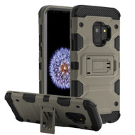 Military Grade Certified Storm Tank Hybrid Armor Case with Stand for Samsung Galaxy S9 - Grey