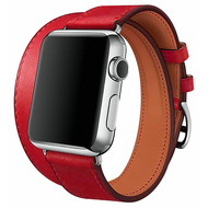 *SALE* Double Wrap Genuine Leather Watch Band for Apple Watch 44mm / 42mm - Red