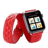 Double Wrap Genuine Quilted Leather Watch Band for Apple Watch 44mm / 42mm - Red