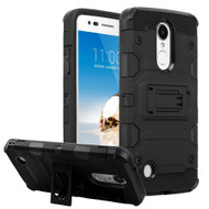 Military Grade Certified Storm Tank Hybrid Armor Case with Stand for LG Aristo / Fortune / K8 (2017) / Phoenix 3 - Black