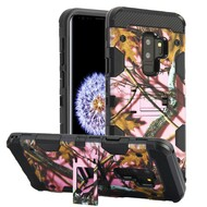 Military Grade Certified Storm Tank Hybrid Armor Case with Stand for Samsung Galaxy S9 Plus - Pink Oak Hunting Camouflage