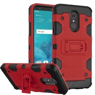 Military Grade Certified Storm Tank Hybrid Armor Case with Stand for LG Stylo 4 - Red