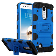Military Grade Certified Storm Tank Hybrid Armor Case with Stand for LG Aristo / Fortune / K8 (2017) / Phoenix 3 - Blue