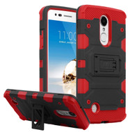 Military Grade Certified Storm Tank Hybrid Armor Case with Stand for LG Aristo / Fortune / K8 (2017) / Phoenix 3 - Black Red