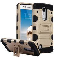 Military Grade Certified Storm Tank Hybrid Armor Case with Stand for LG Aristo / Fortune / K8 (2017) / Phoenix 3 - Gold
