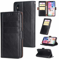 *FINAL SALE* Deluxe Genuine Leather Wallet Case for iPhone XS / X - Black