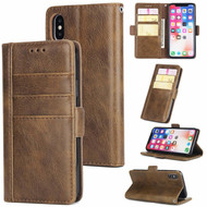 *FINAL SALE* Deluxe Genuine Leather Wallet Case for iPhone XS / X - Brown