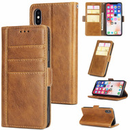 *SALE* Deluxe Genuine Leather Wallet Case for iPhone XS / X - Cinnamon Brown